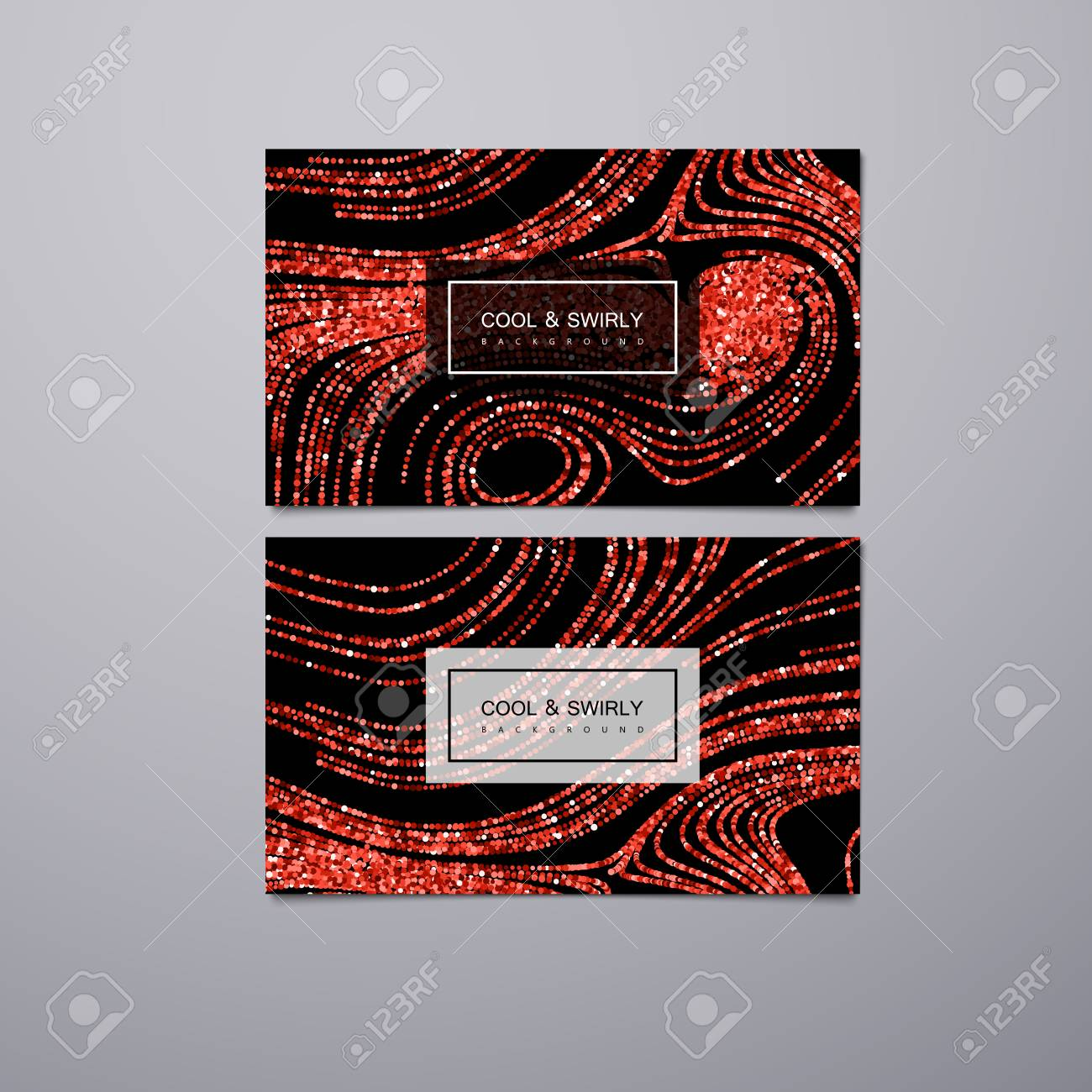 Greeting Invitation Or Business Cards Design Template With Swirled Glittering Stripes Vector Illustration Of Red Ruby Glitter Background Marble Or