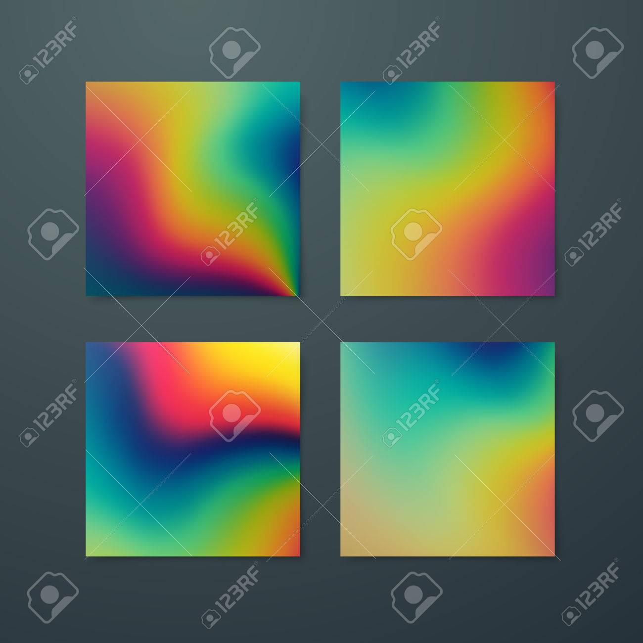Fluid iridescent multicolored backgrounds. Vector illustration of melted iridescent fluids. Poster set with spectrum neon effect. Applicable for flyer, banner, poster, brochure, card. - 65406362