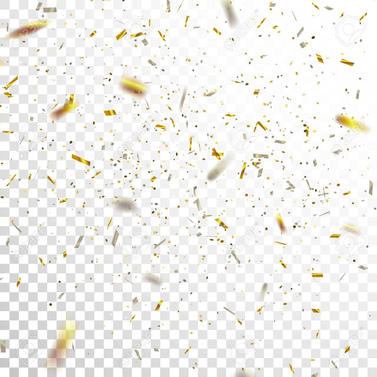 Golden and Silver Confetti. Vector Festive Illustration of Falling Shiny Confetti Glitters Isolated on Transparent Checkered Background. Holiday Decorative Tinsel Element for Design - 65406899