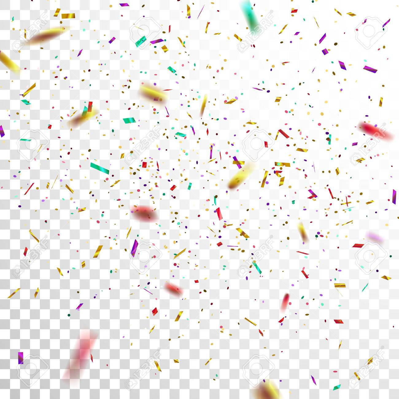 colorful golden confetti vector festive illustration of falling
