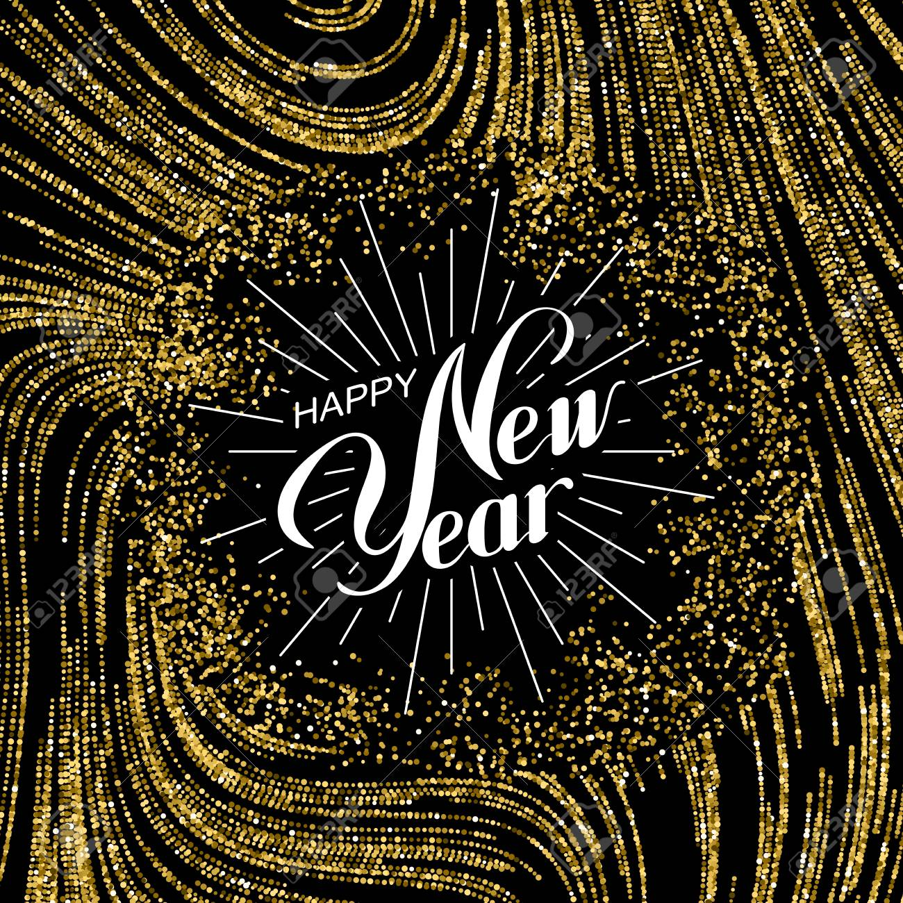 Happy New Year. Holiday Illustration. Lettering Composition With Golden Glitters - 65354608