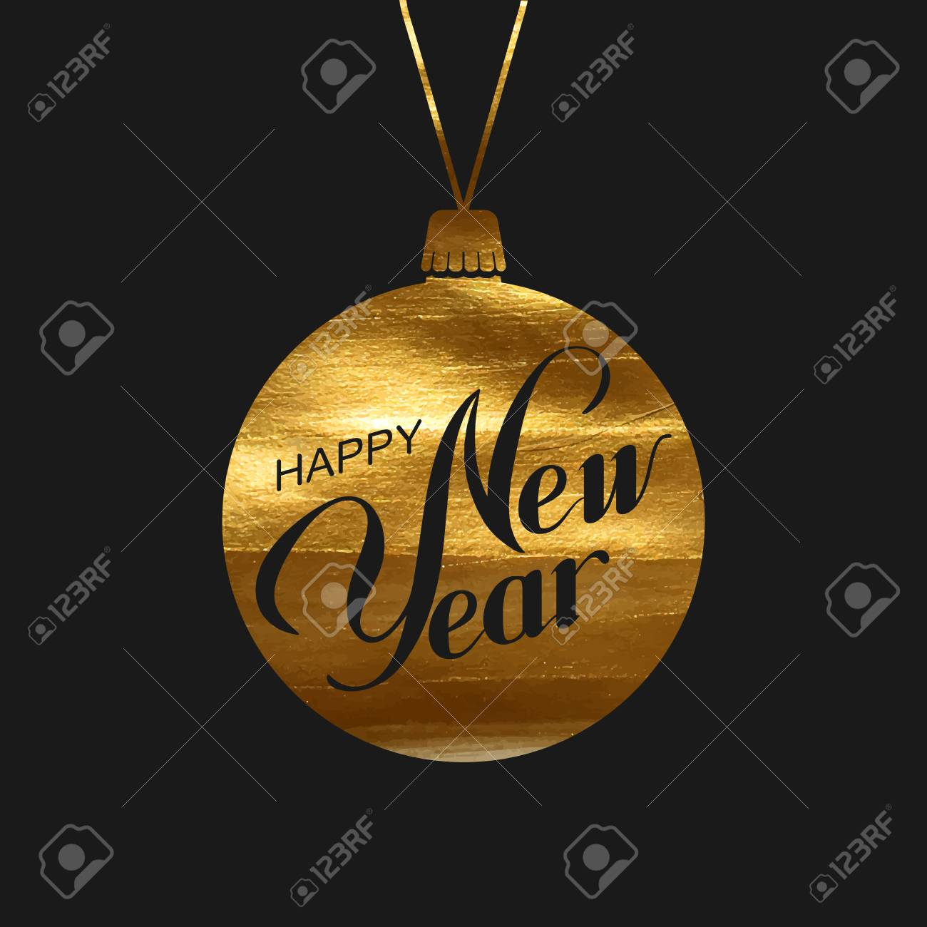 golden christmas ball with happy new year label holiday illustration of new year holiday bauble