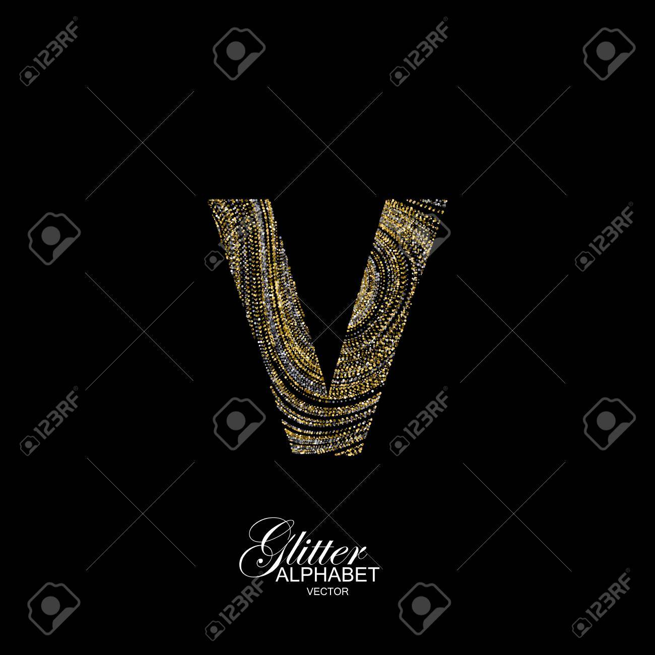 Letter v of golden and silver glitters typographic element for letter v of golden and silver glitters typographic element for design part of marble buycottarizona