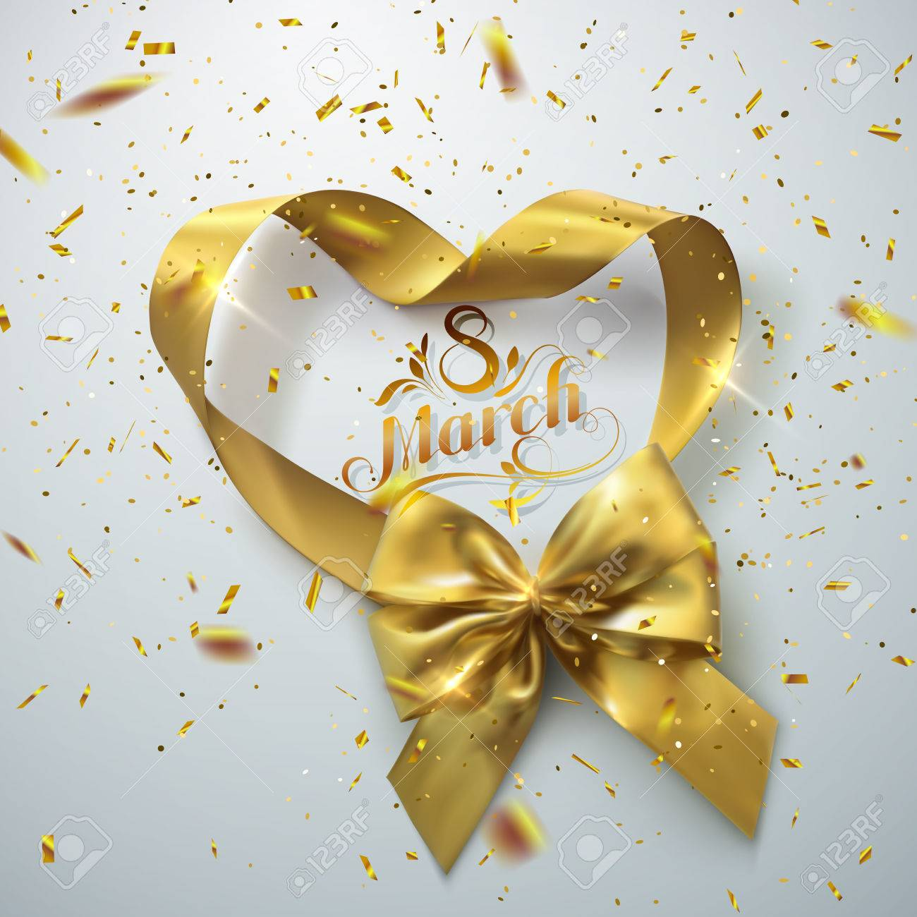 8 of March. International women day. Vector holiday illustration of golden ribbon heart and bow with sparkling confetti glitters. Festive decoration - 72783056
