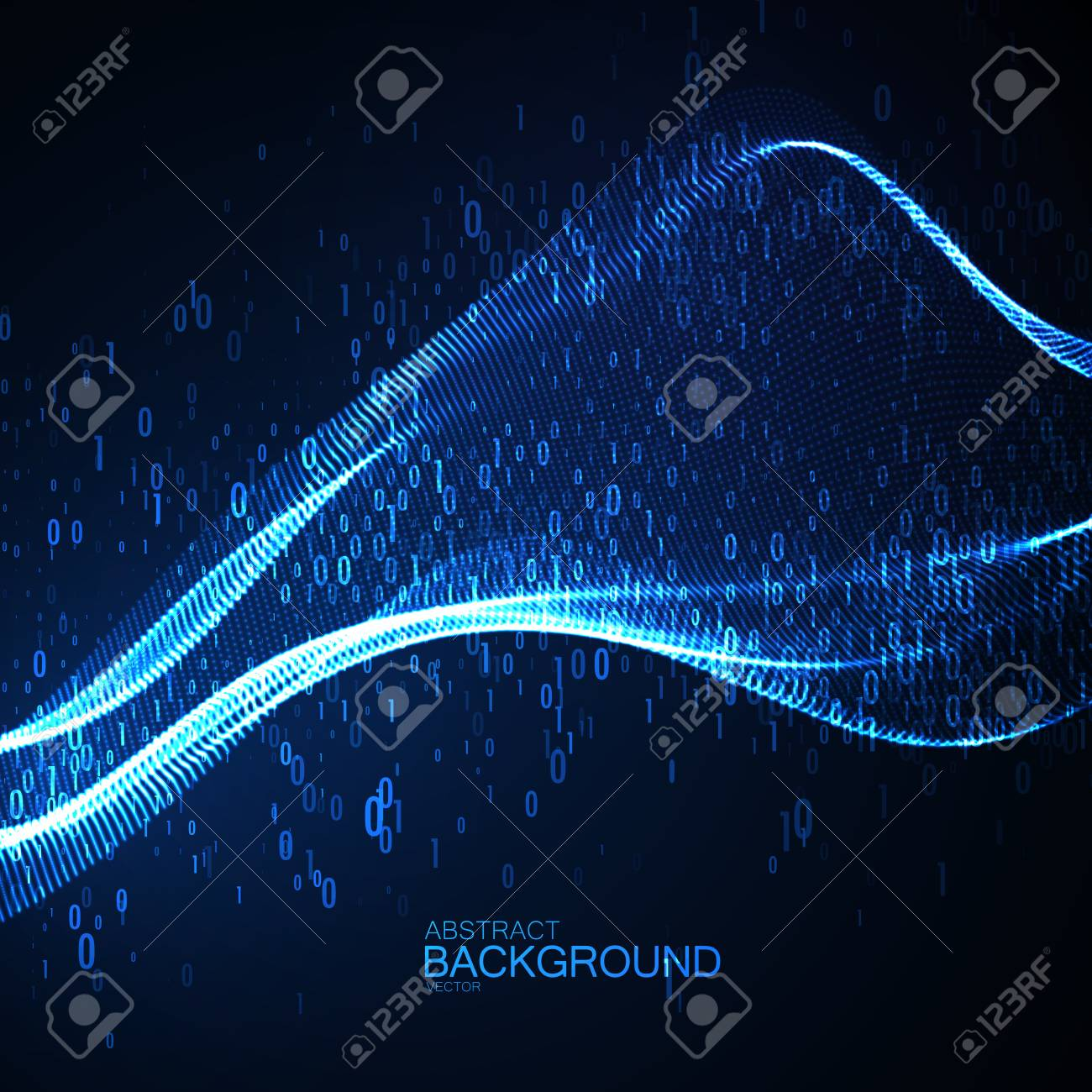 Abstract virtual digital wave of binary code particles - 84410815