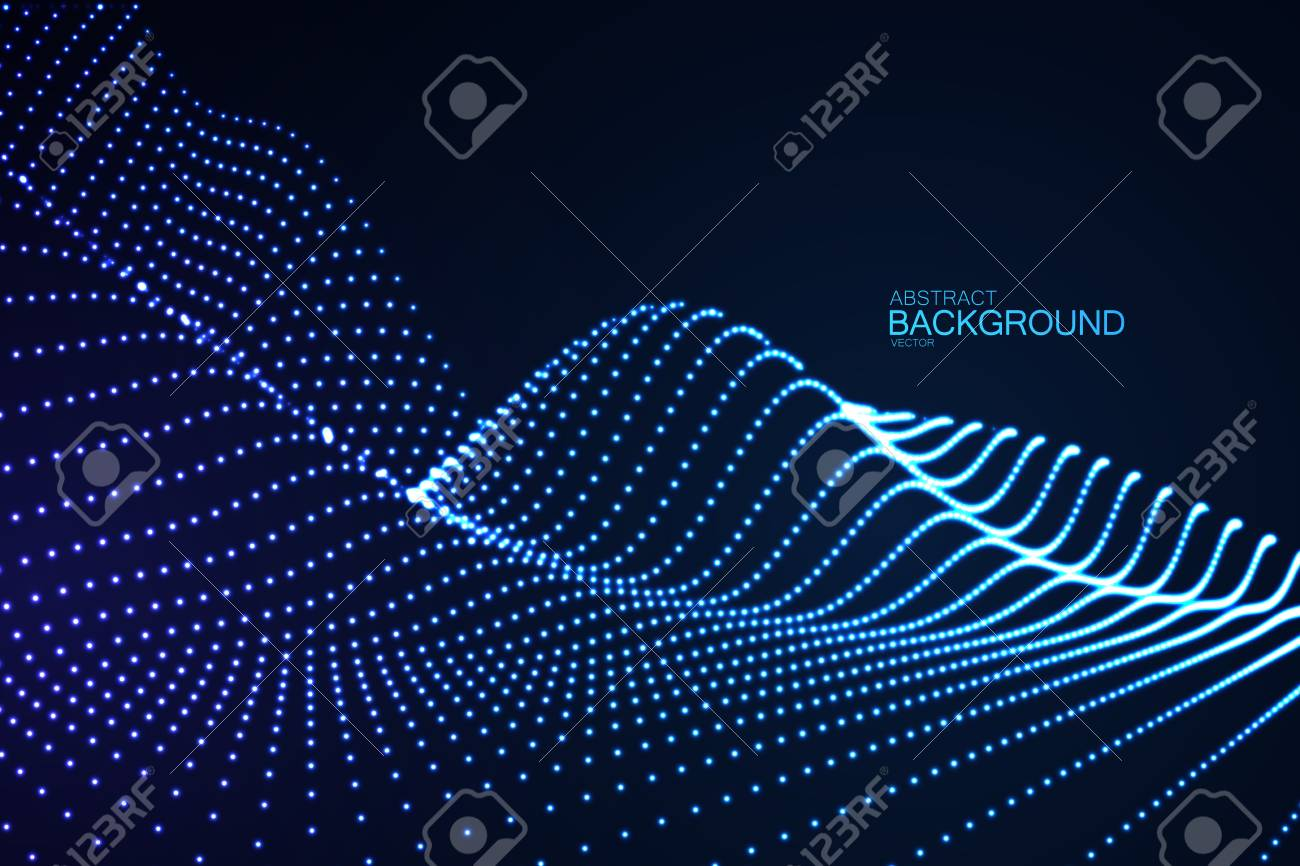 3D glowing neon digital relief of particles - 84359071