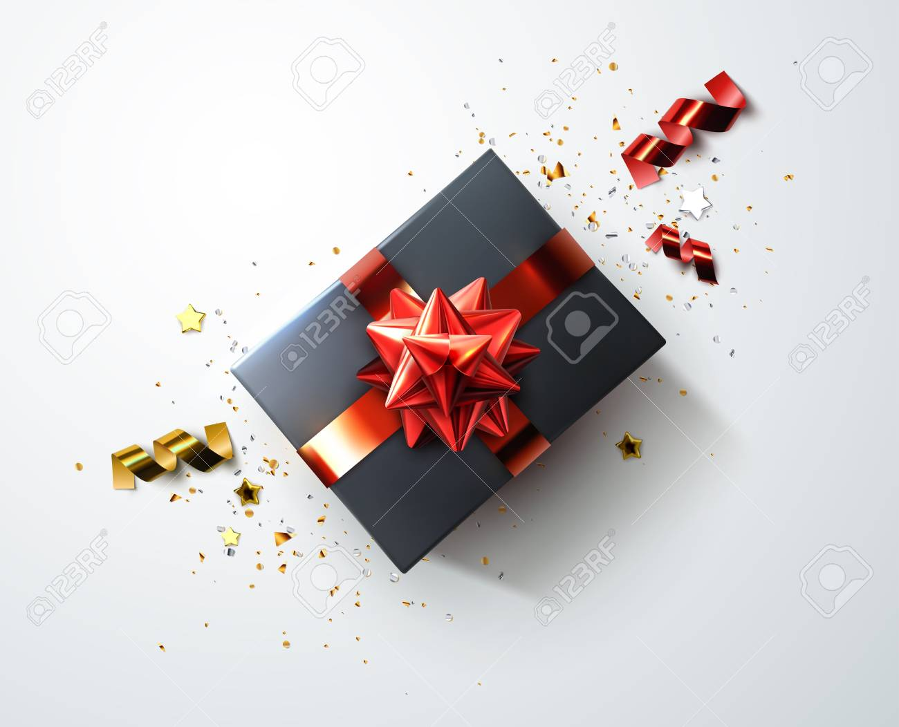 Black gift box with shiny red ribbons, bow and shredded confetti particles and stars vector - 90508634