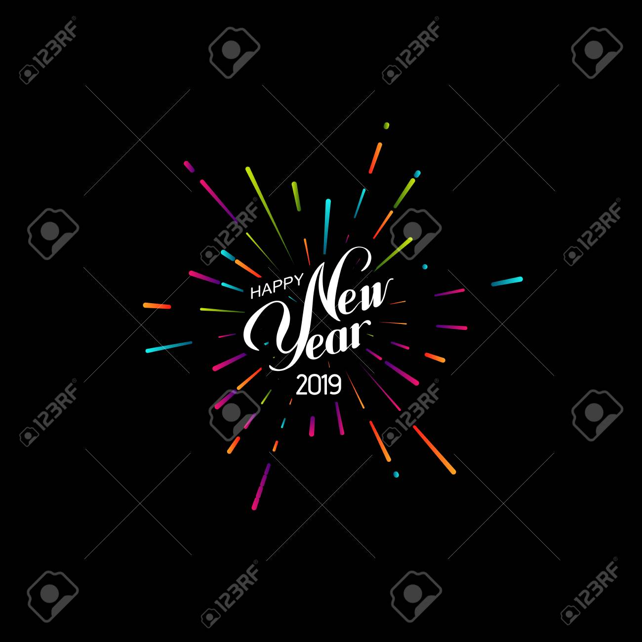 Happy 2019 New Year. Holiday Vector Illustration With Lettering Composition And Bursting Fireworks shape. - 111240509