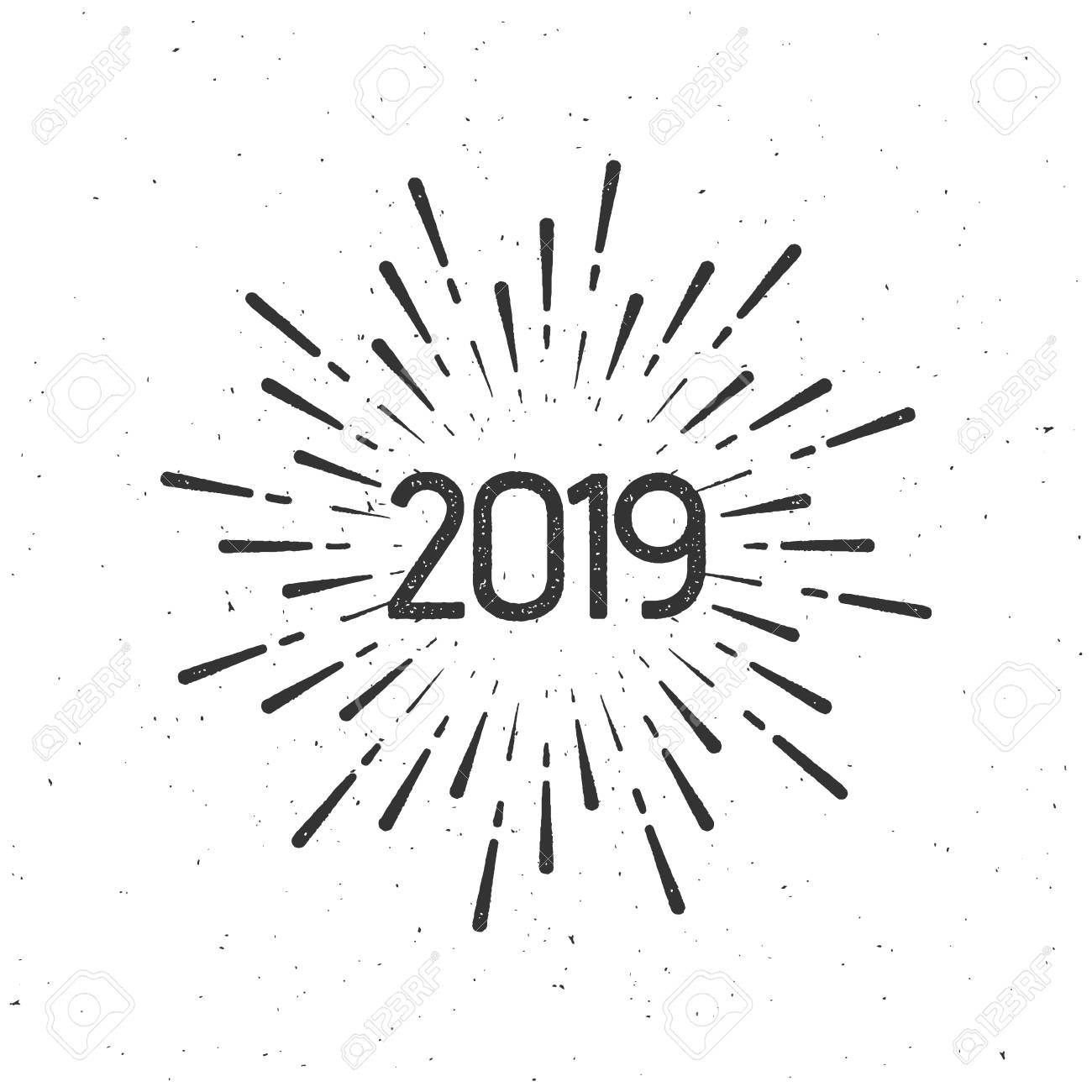 Happy 2019 >> Happy 2019 New Year Holiday Vector Illustration With Numbers