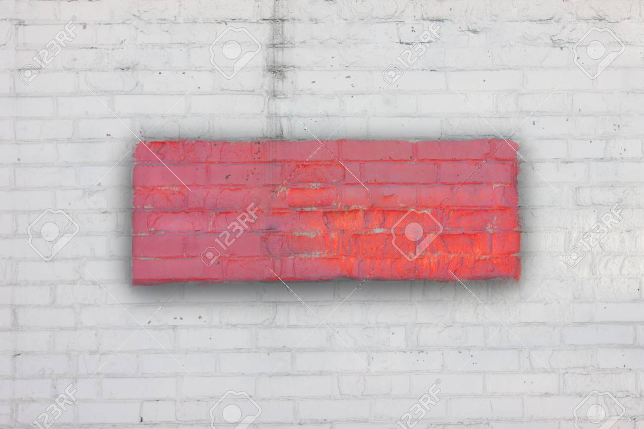 White brick wall with a red rectangle with shadow in the center. Art background. Fence. The wall. - 74993132