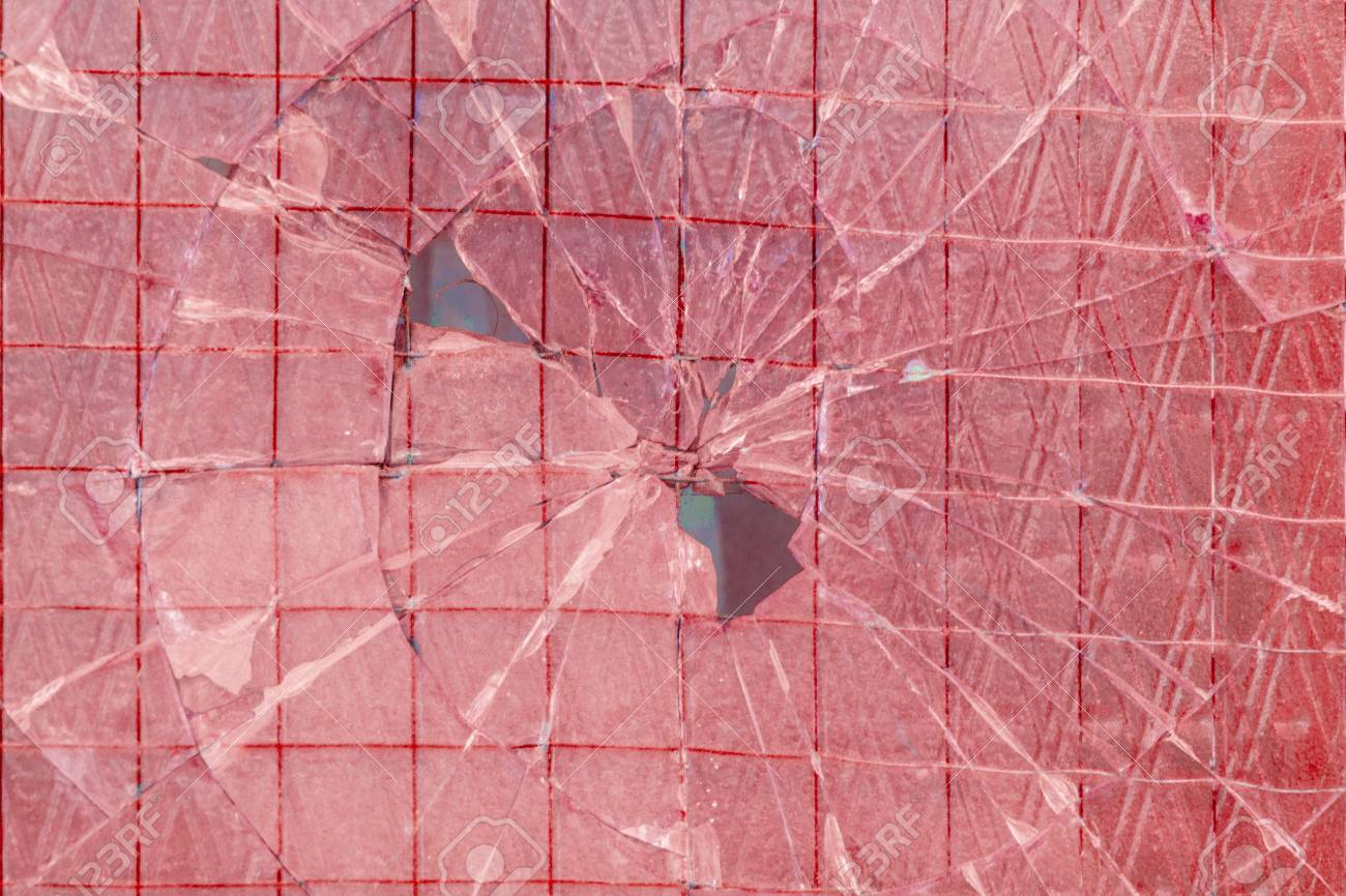 Broken decorative and glossy glass block window as a texture or for background. The wall. Geometric background. - 74993111