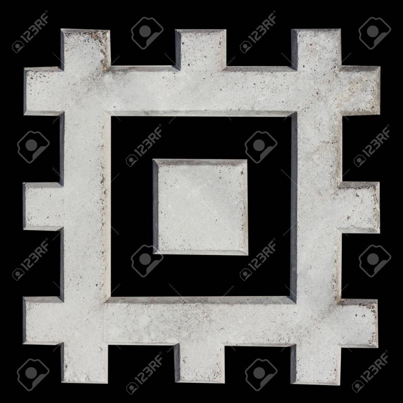 A fragment of concrete fence. Tracery pattern of stone wall as squares. Isolate. Clipping path included. - 74993113