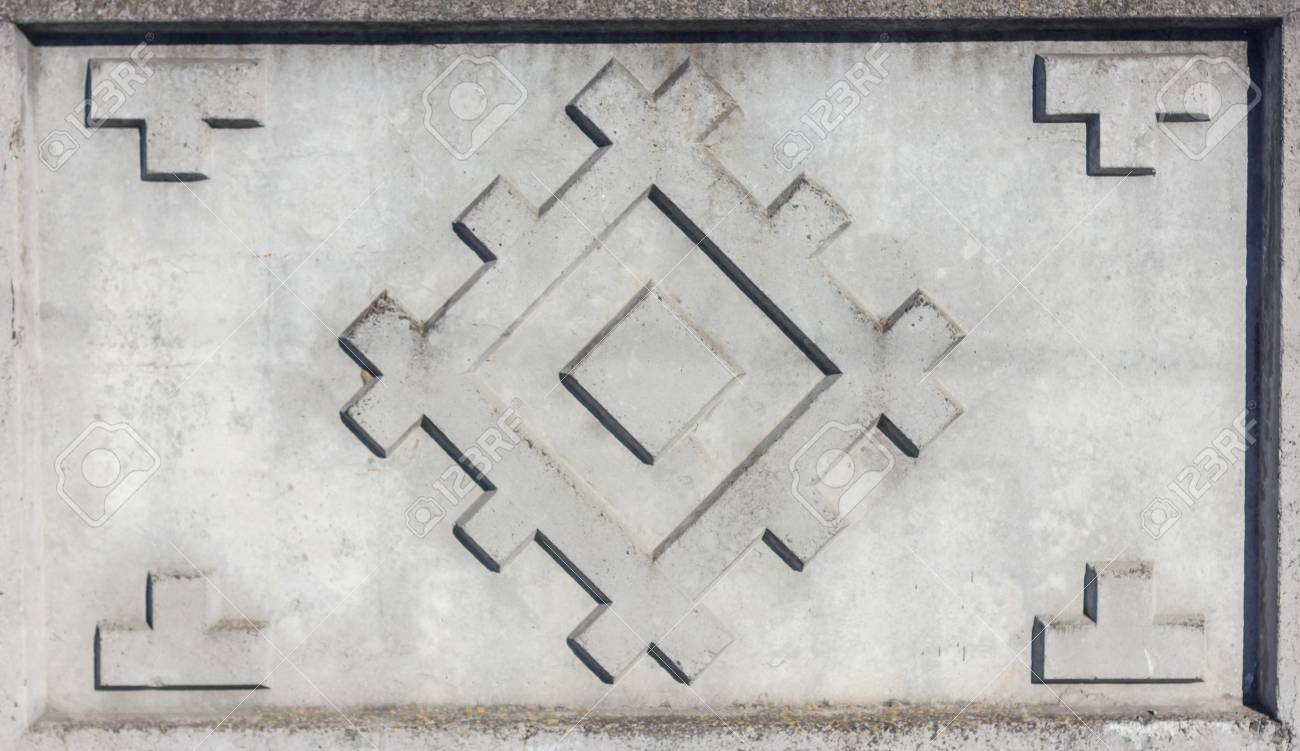 Concrete fence pattern as squares in large rombus. The wall. Tracery - 74993114