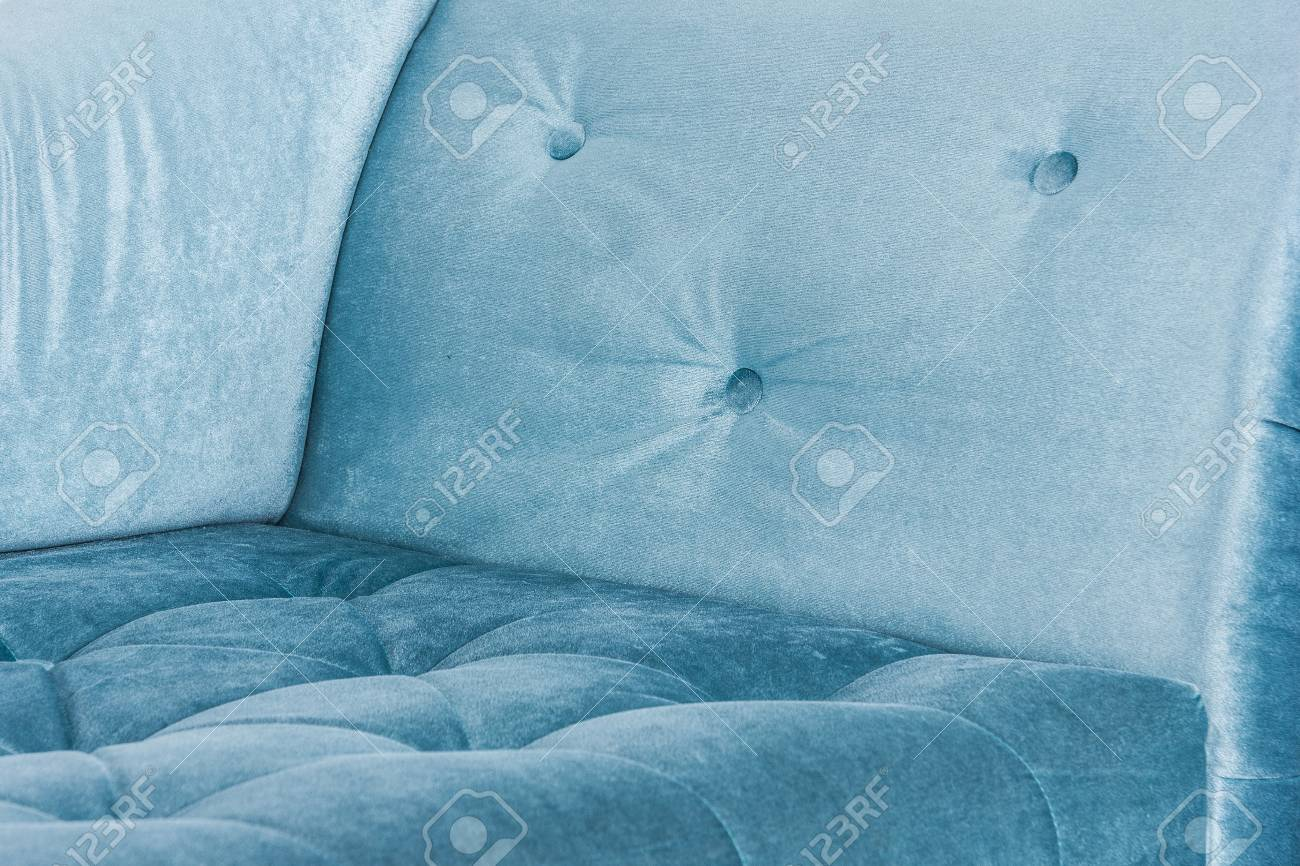 Blue sofa in white interior and gray floor. Venetian style - 76369593