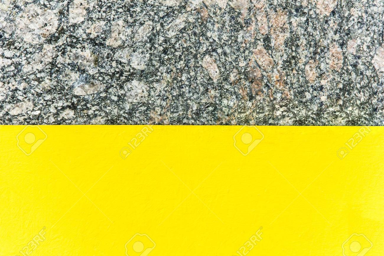 Two-color abstract background. Part yellow and part marble. Texture of natural marble background. Pattern - 75861409