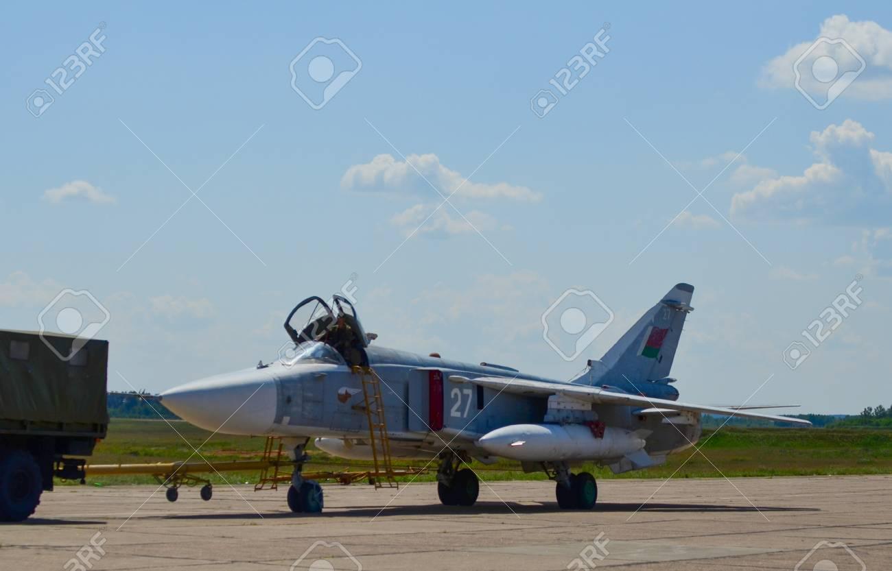 Belarus, 61st fighter airbase Baranavichy  August 15, 2018: Sukhoi