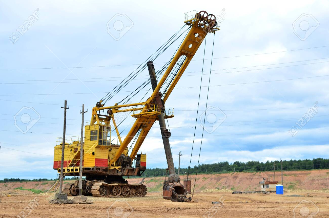 Huge Mining Excavator In The Limestone Open Pit Biggest Digger Stock Photo Picture And Royalty Free Image Image 133082337