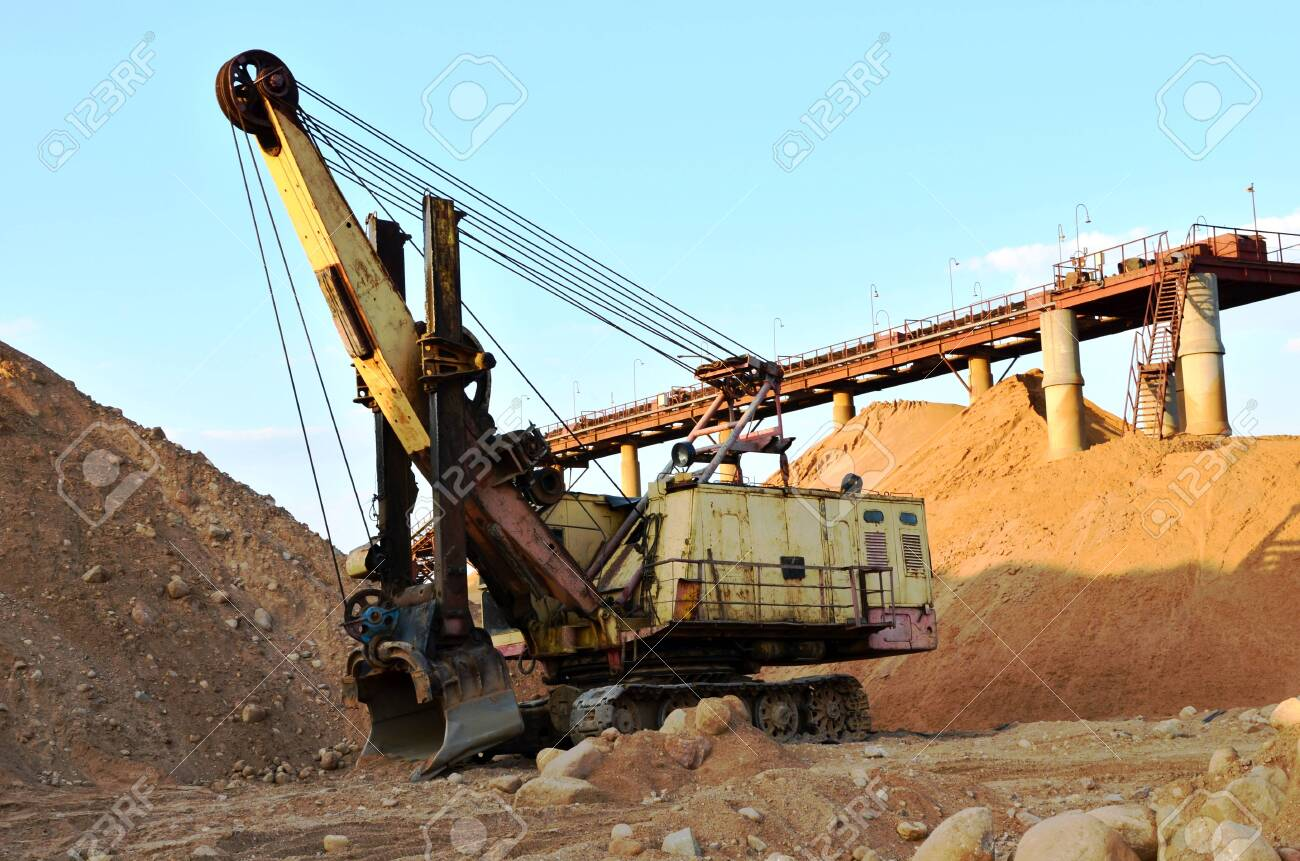 Huge Mining Excavator In The Limestone Open Pit Biggest Digger Stock Photo Picture And Royalty Free Image Image 138907476