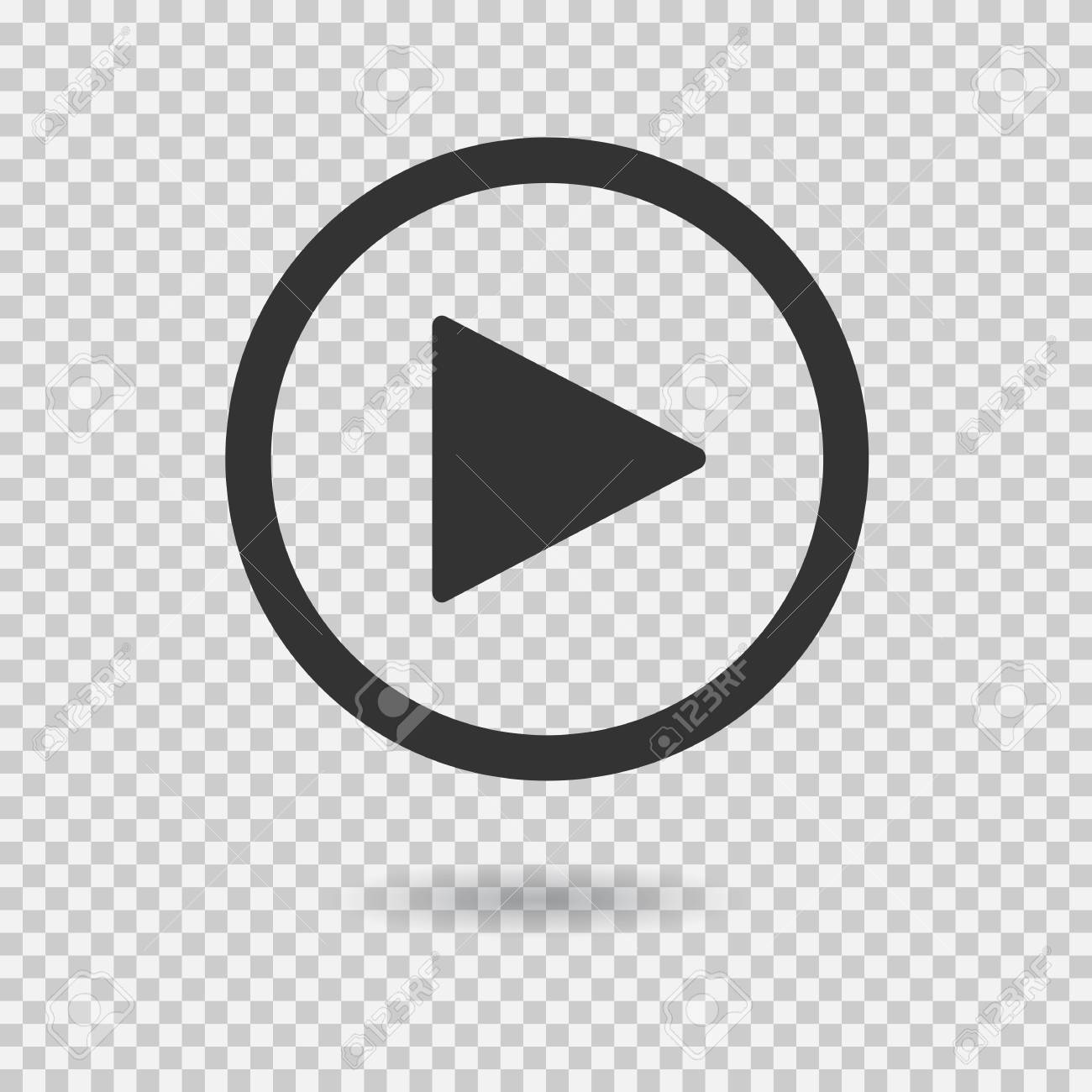 Play button with shadow on transparent background. Isolated sign for web. Vector icon. - 87224878