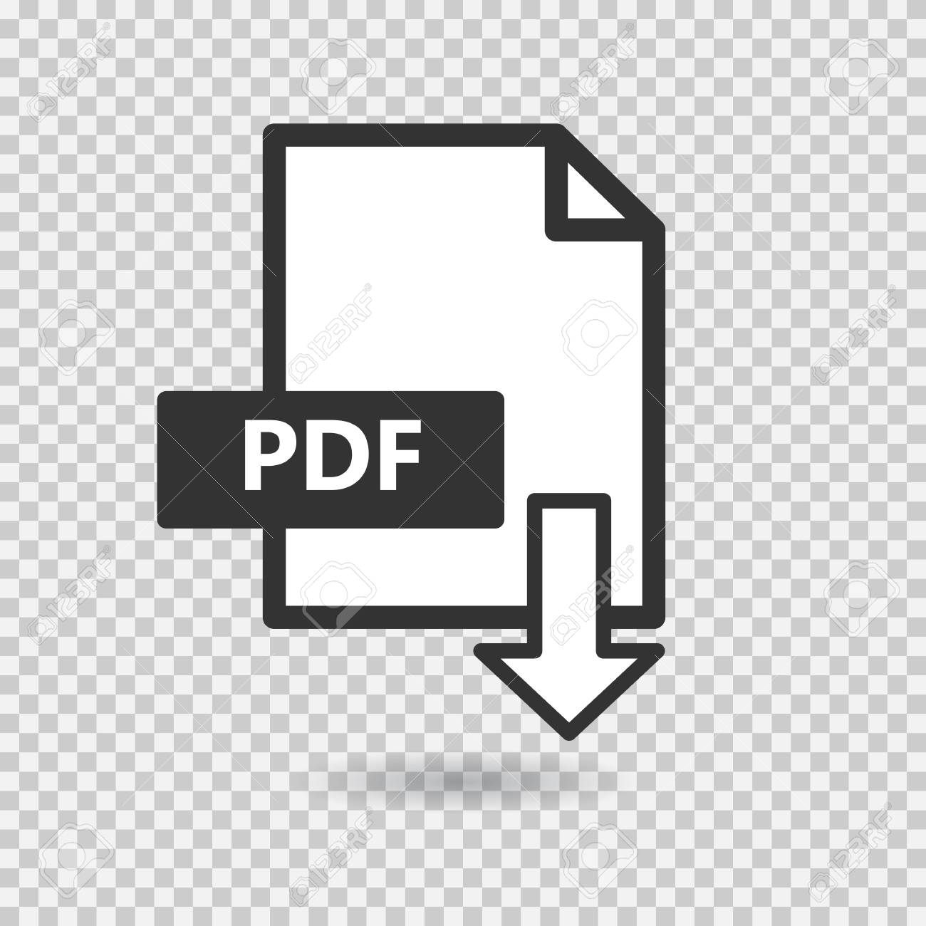 Pdf Vector Icon On Transparent Background Download File Flat