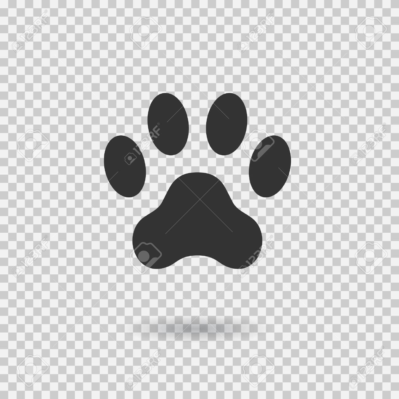Animal Paw Print Dog Paw With Shadow Web Icon Footprint Vector