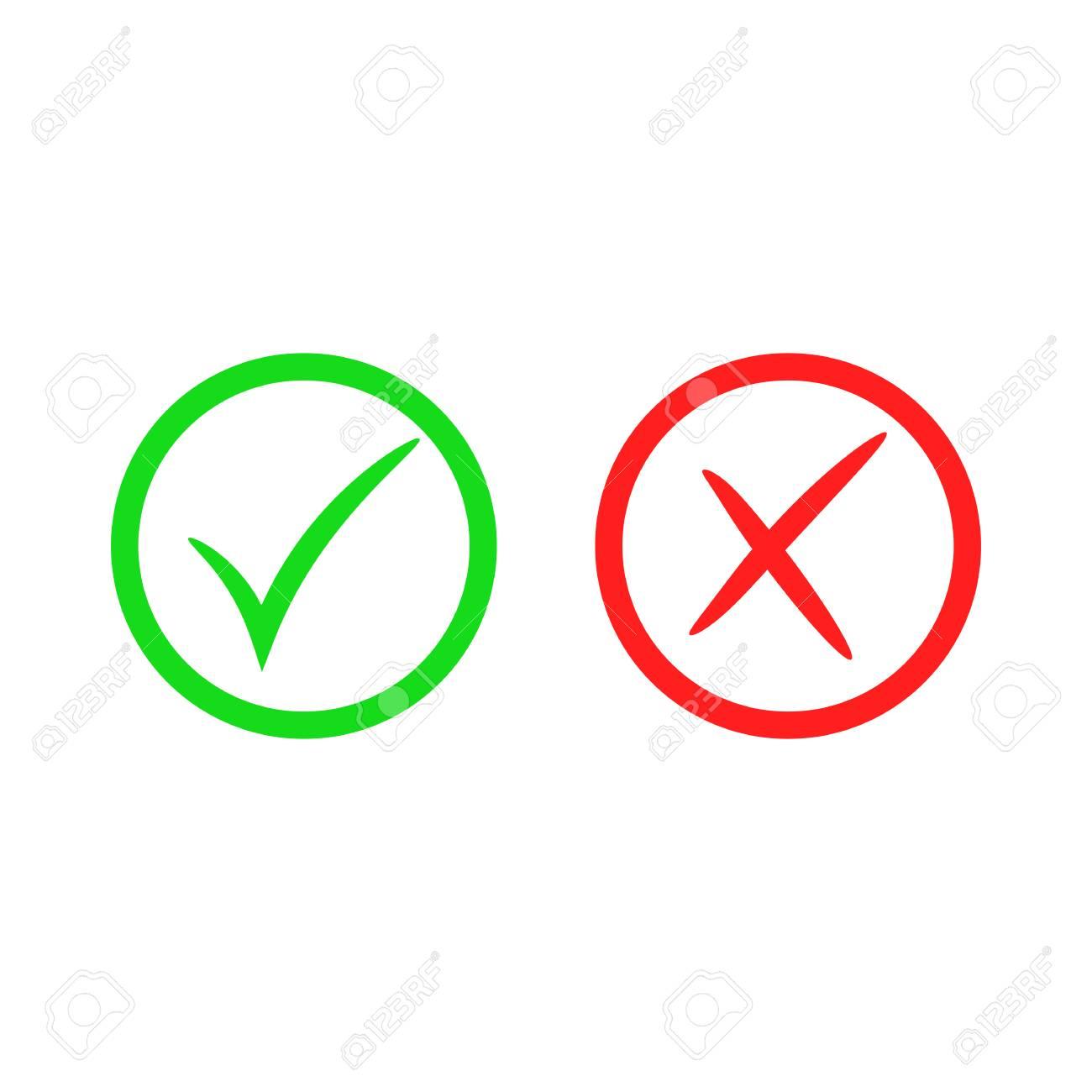 Green check mark icon  Red cross mark  Vector checkmark button