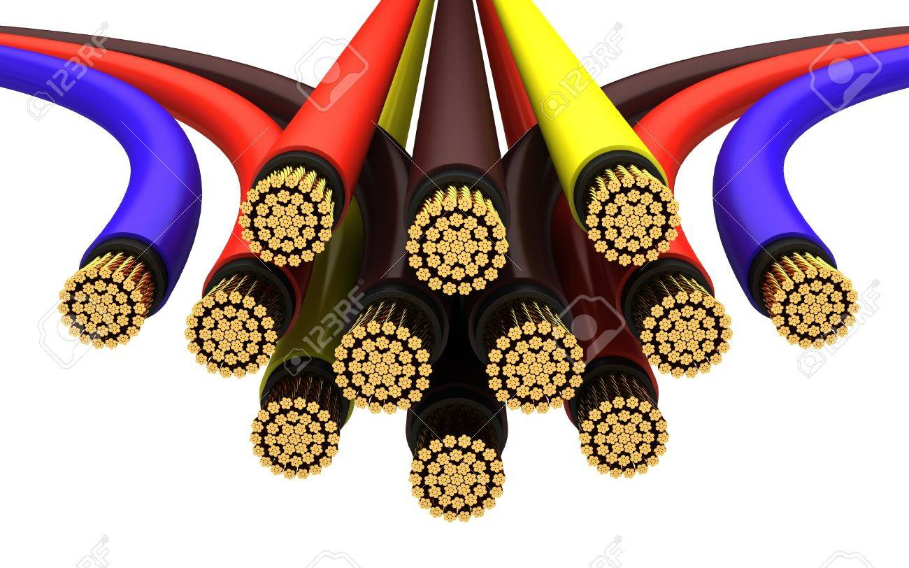 Copper electrical cable on a white background. Stock Photo - 12023799