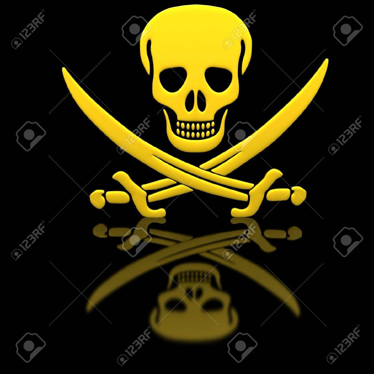 Yellow Jolly Roger skull and swords on the glossy surface. Stock Photo - 12028443
