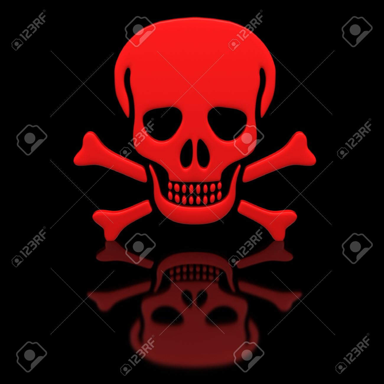 Red skull and crossbones on a black glossy surface