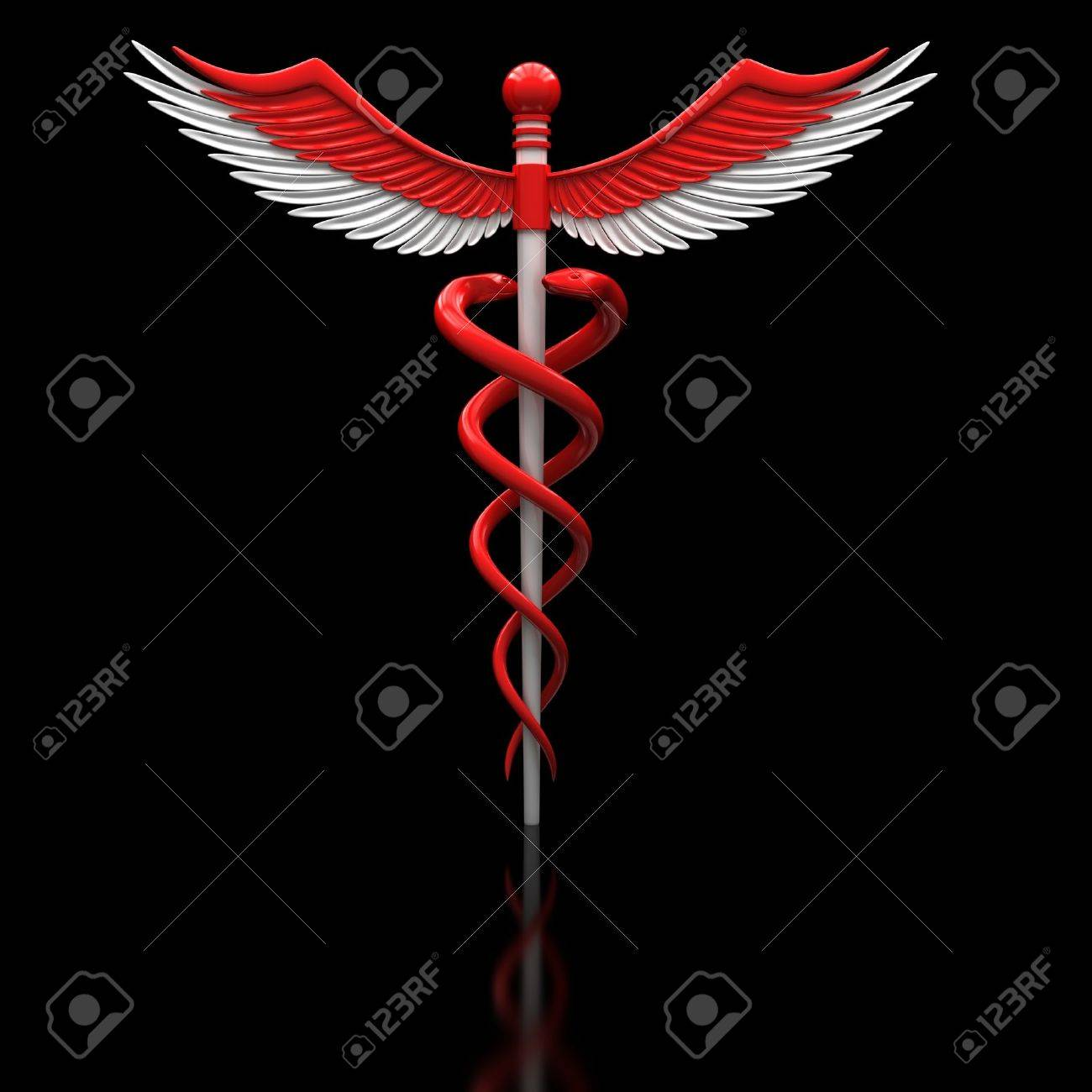 Red medical caduceus symbol on a black glossy surface. Stock Photo - 12065763
