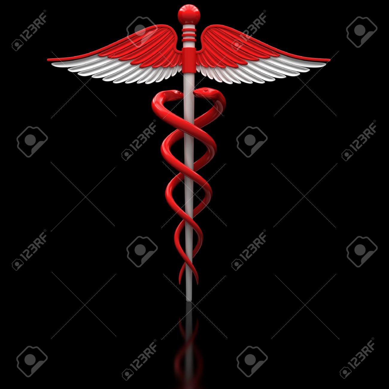 Red Medical Caduceus Symbol On A Black Glossy Surface Stock Photo