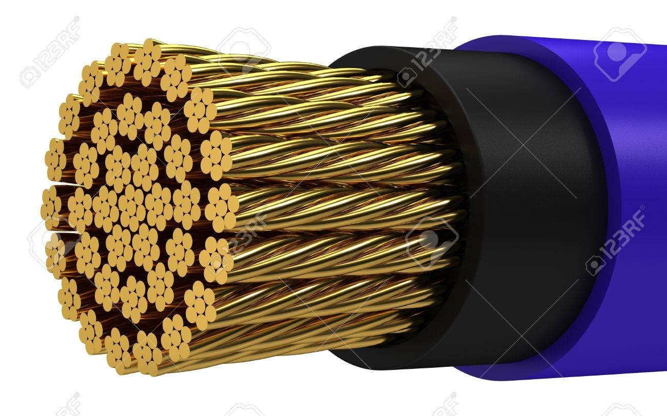 Copper electrical cable on a white background. Stock Photo - 12065802
