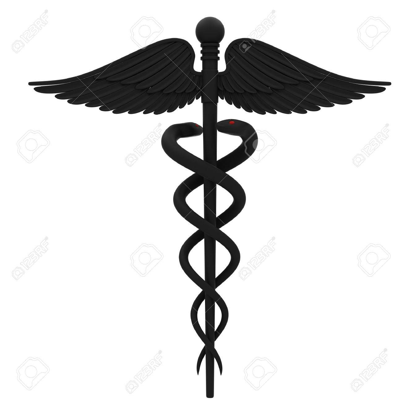 medical caduceus symbol in black isolated on white background rh 123rf com