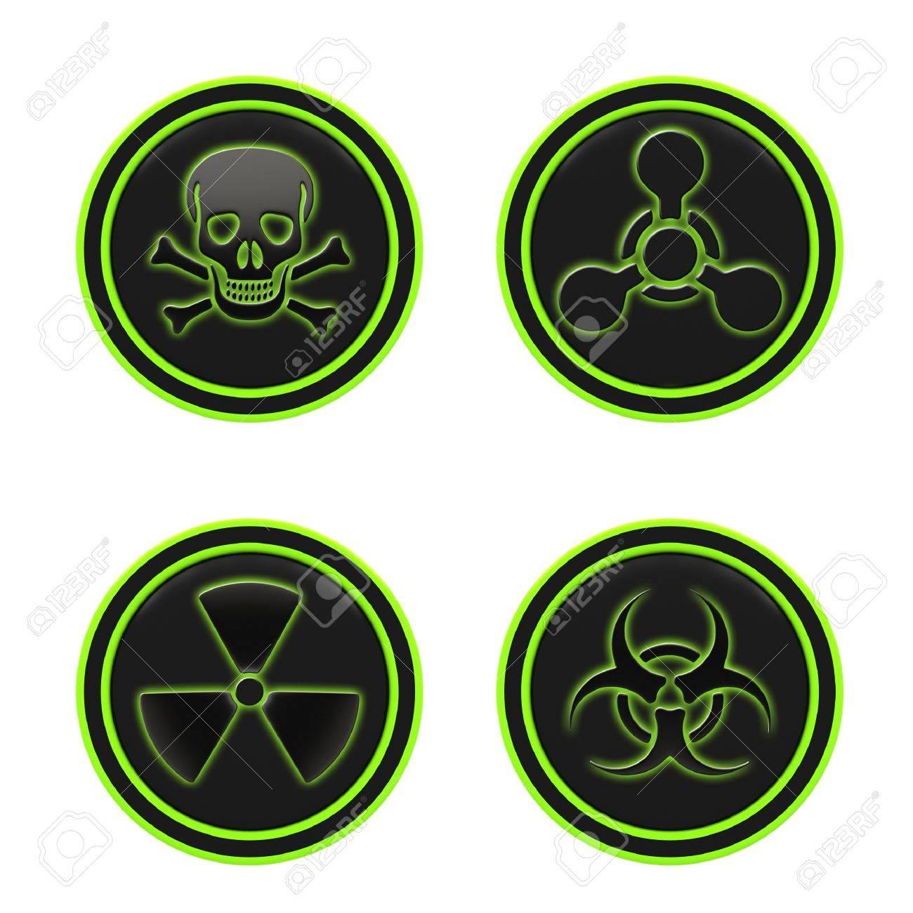 Icon Depicting The Hazard Symbols On A White Background Stock Photo