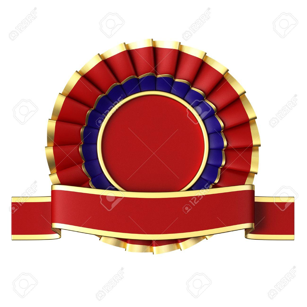 Red Ribbon Award isolated on white background. Stock Photo - 13079003