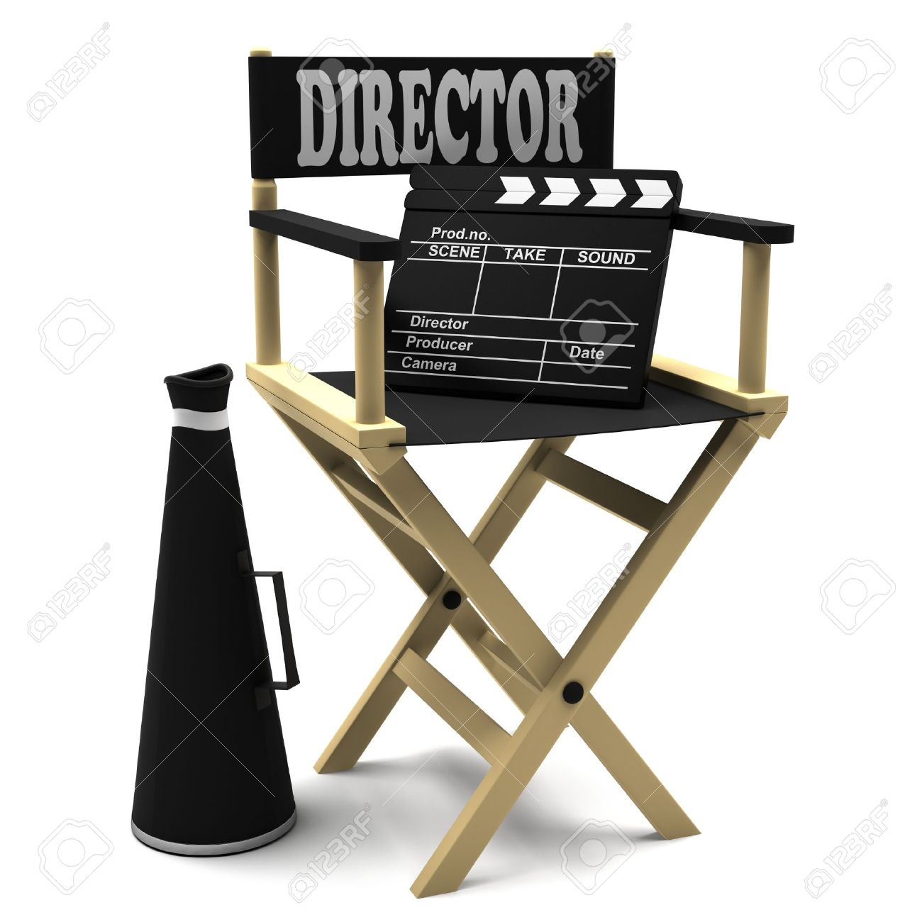 Chair director, movie clapper and a megaphone on white background. Stock Photo - 13127061
