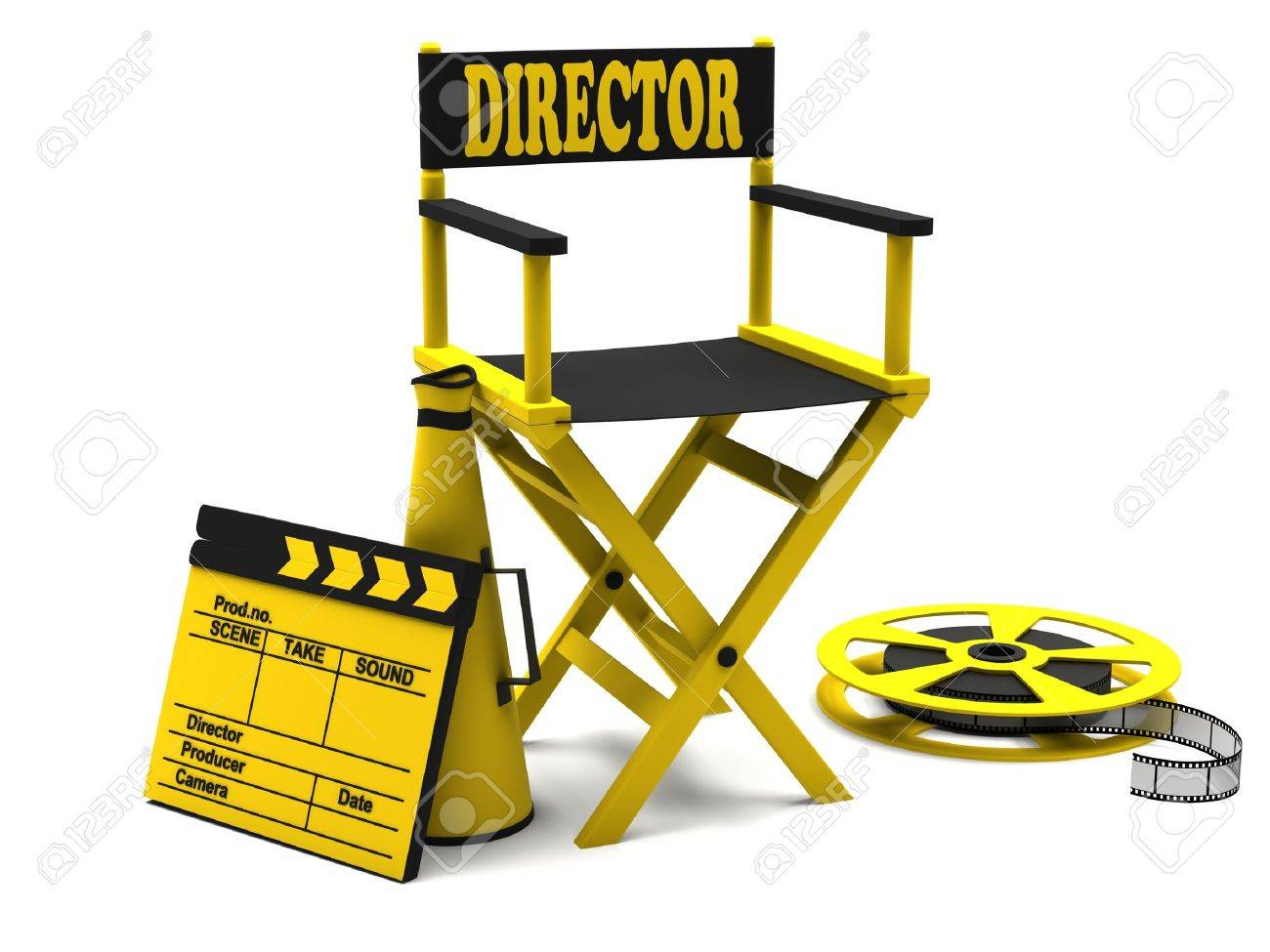 chair film industry directors chair with film strip and movie clapper