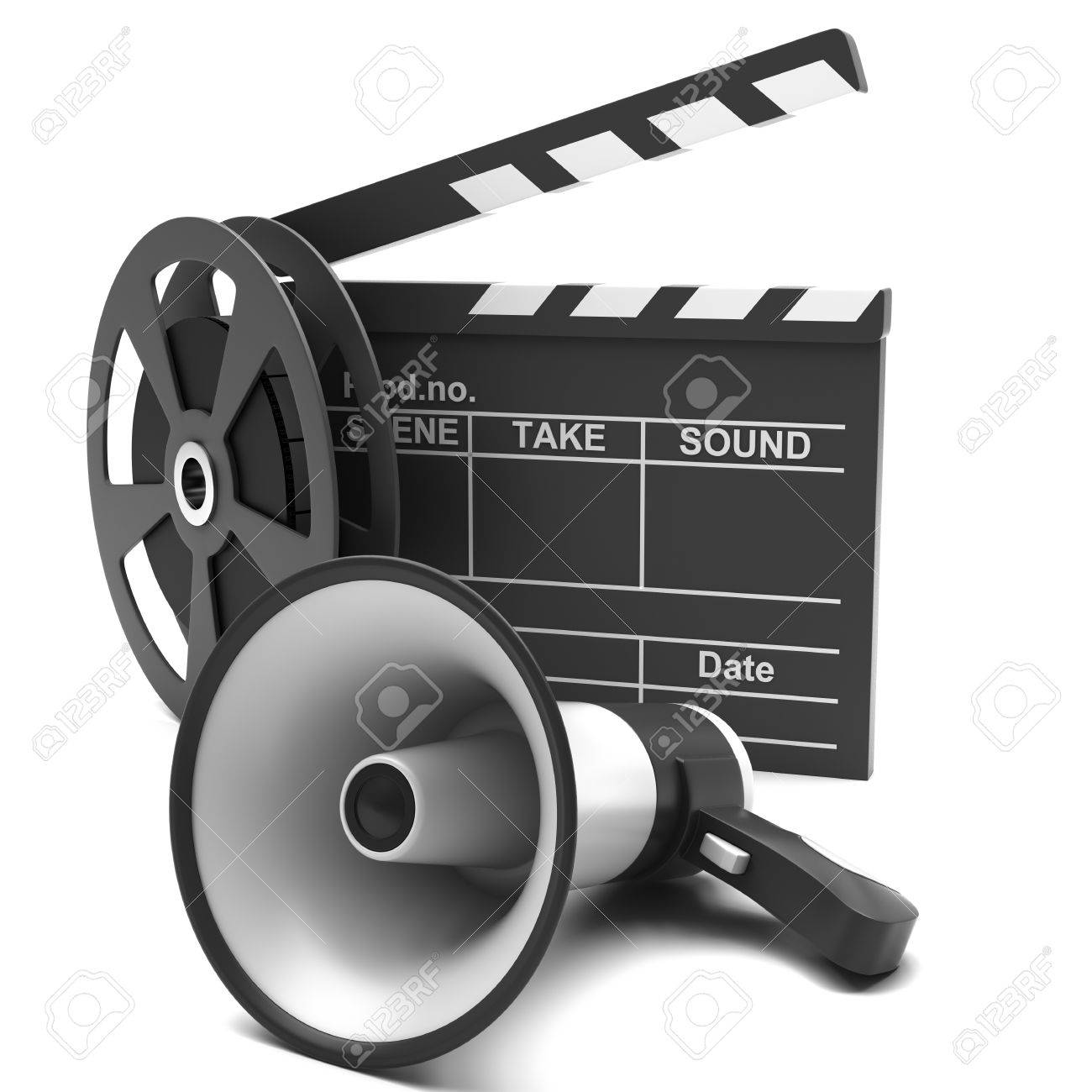 Movie clapper and film strip and megaphone on a white background Stock Photo - 16734091