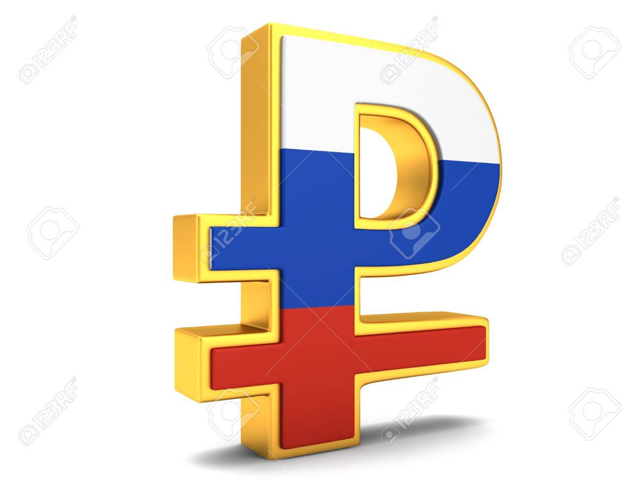 Symbol Of Russian Ruble With Flag Stock Photo Picture And Royalty