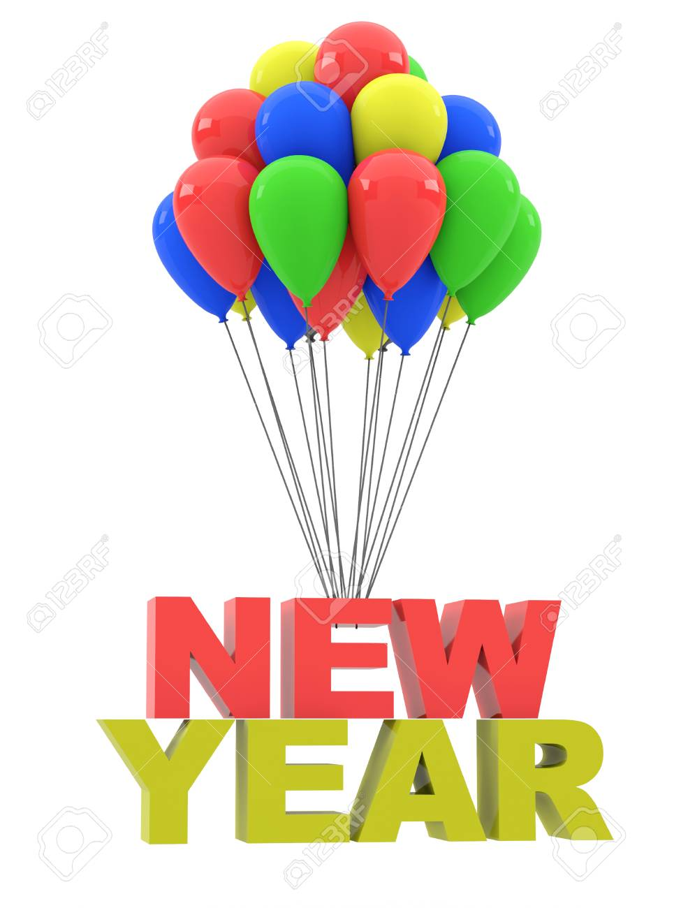 Happy New Year. Group Of Balloons With The Words New Year On.. Stock ...