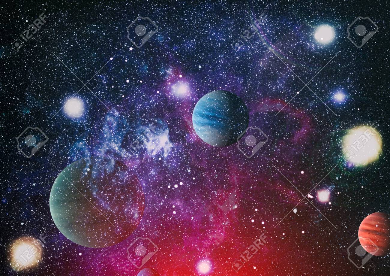 Universe Scene With Planets Stars And Galaxies In Outer Space