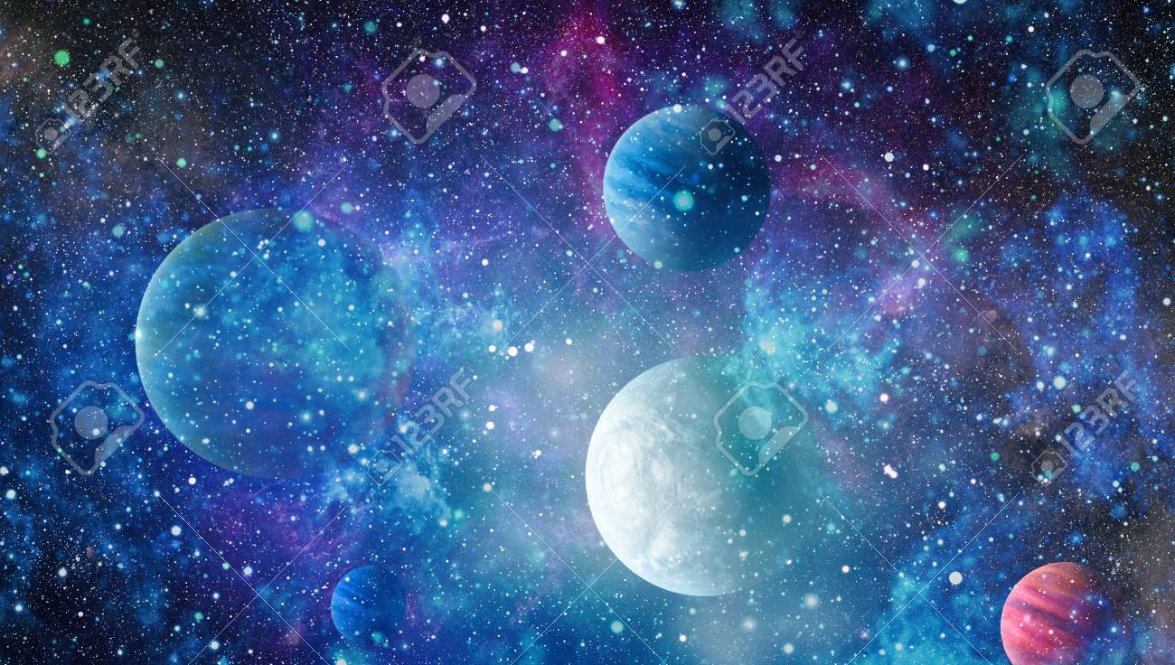 Futuristic Abstract Space Background Night Sky With Stars And Nebula Stock Photo