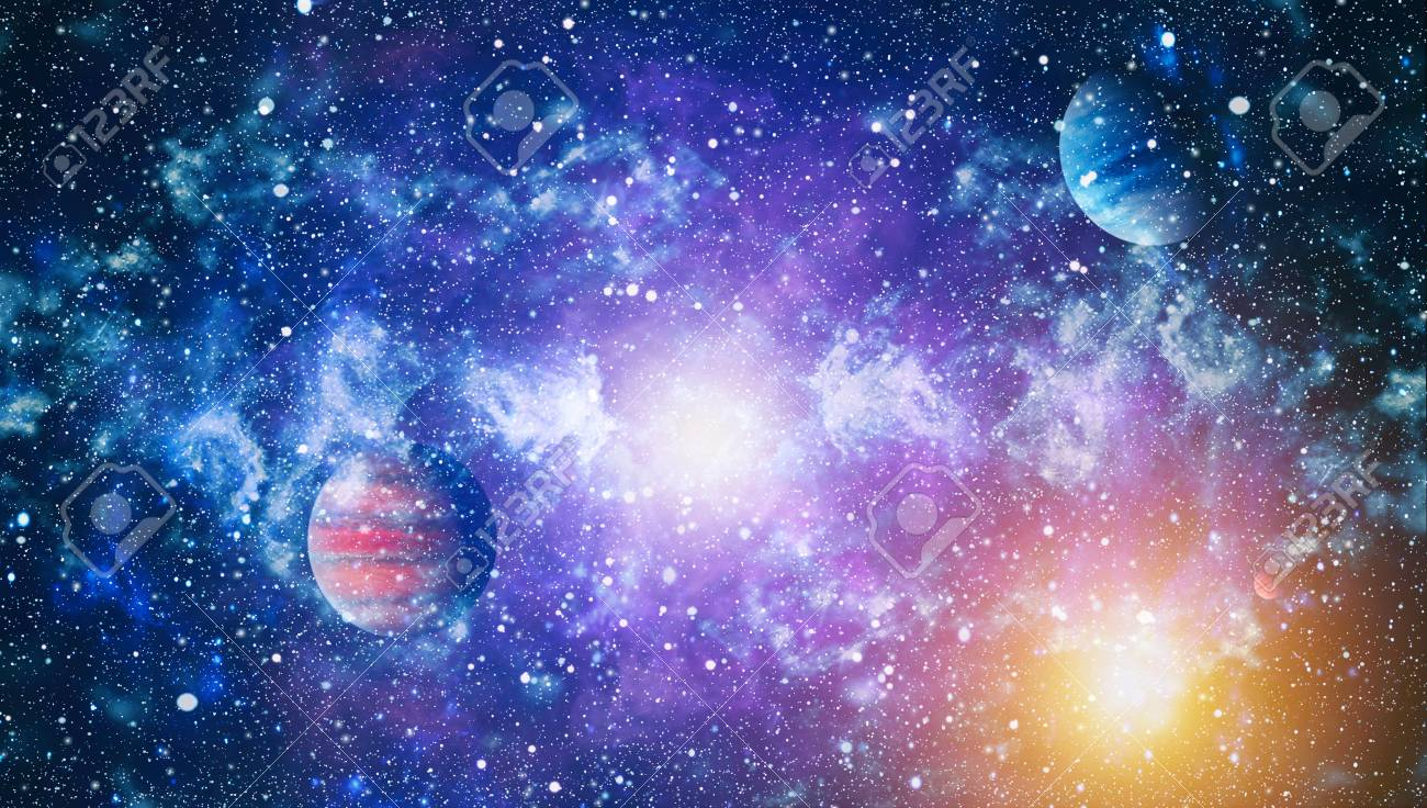 High Quality Space Background Bluebird Galaxy Stock Photo
