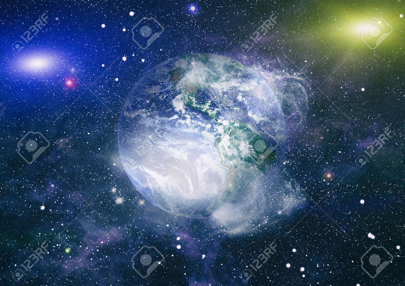 Earth In The Outer Space Collage Abstract Wallpaper Stock Photo