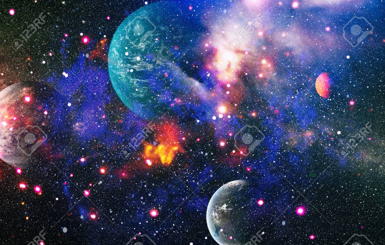 Chaotic Space Background Planets Stars And Galaxies In Outer Stock Photo Picture And Royalty Free Image Image 116805488