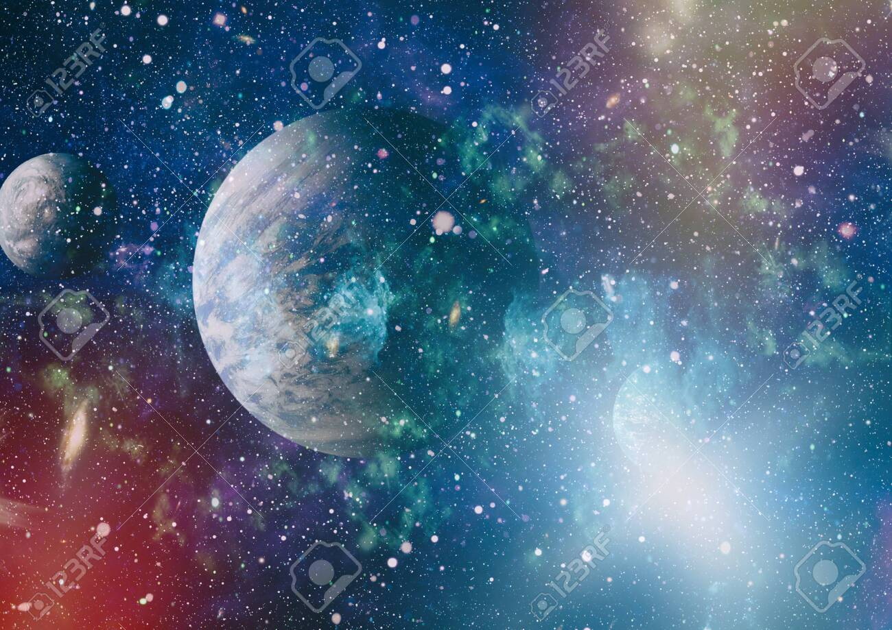 Futuristic abstract space background. Night sky with stars and nebula. - 140760611