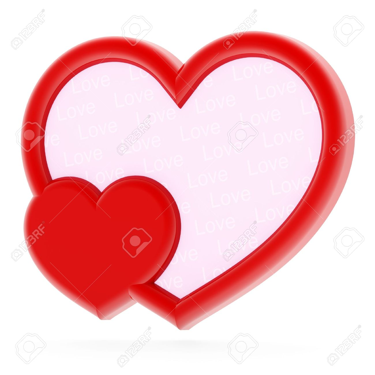red heart shaped photo frame on white background stock photo 9955660