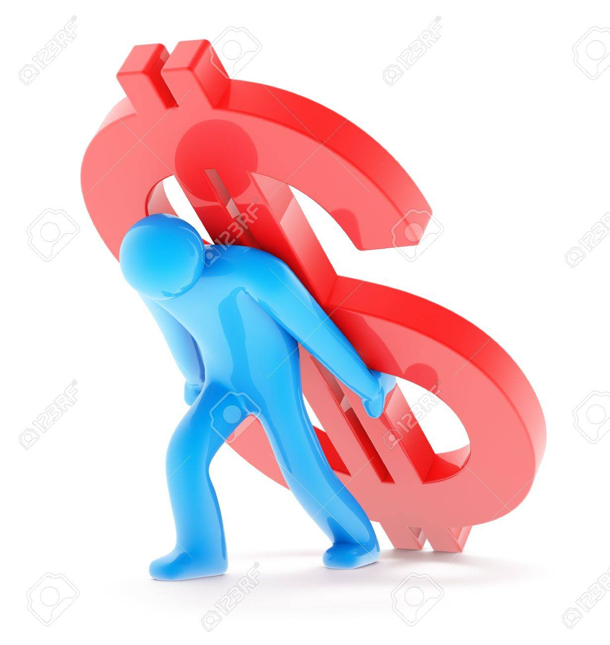 Blue man figure carring red dollar sign, isolated on white background, 3d render Stock Photo - 10164276