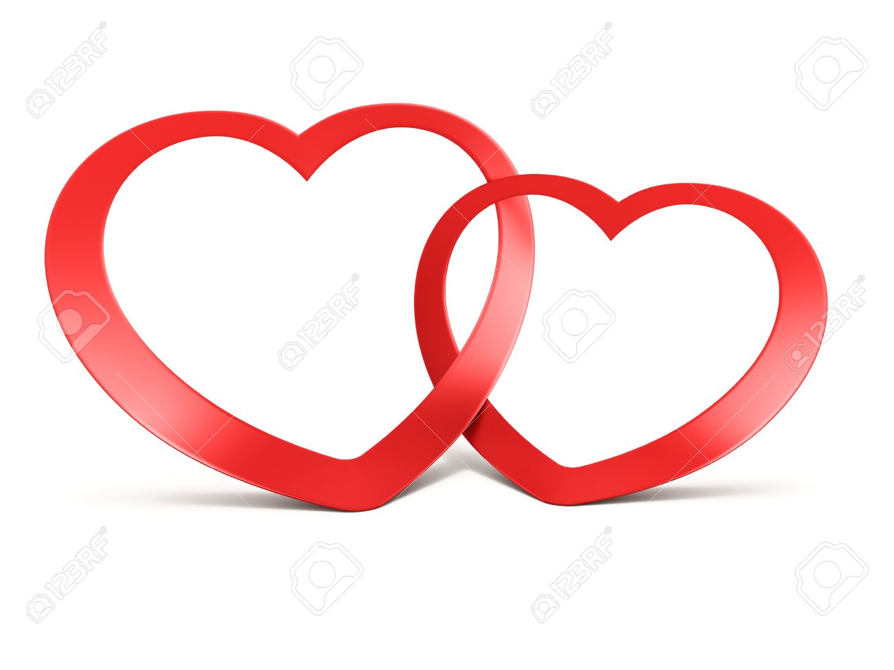 Clip Art Line Of Hearts : Two joined red hearts on white background stock photo picture and