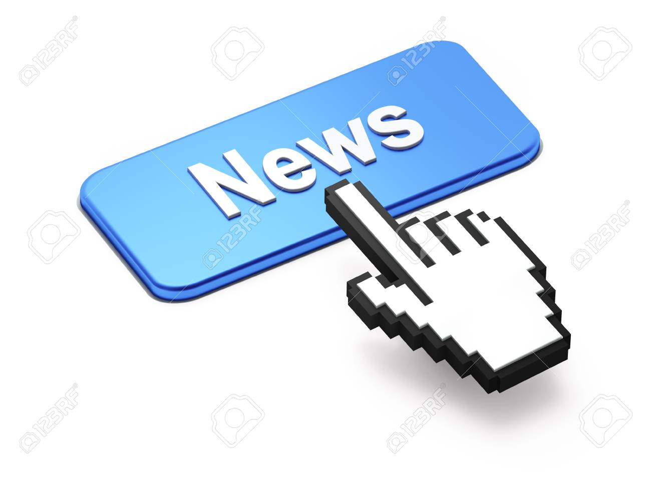 Hand-shaped mouse cursor press News button on white background Stock Photo - 11699392